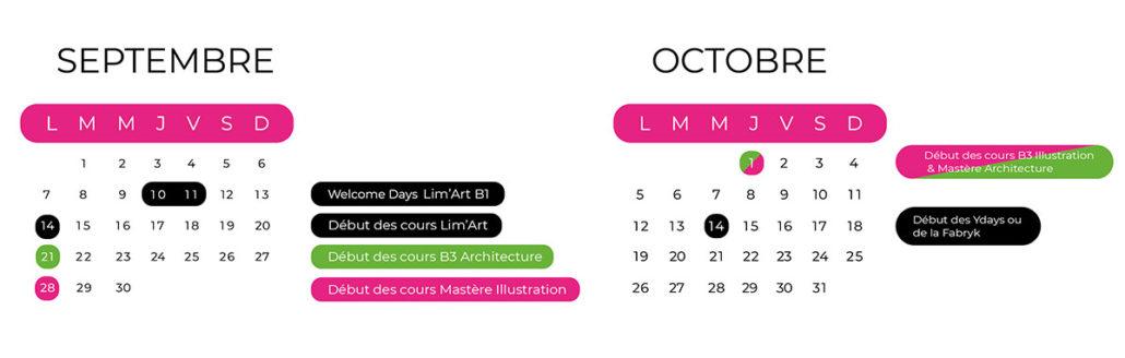 calendrier rentrée Limart